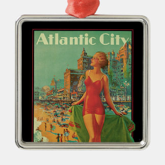 Vintage Travel, Atlantic City Resort Beach Blonde Christmas Ornament