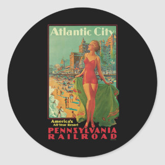 Vintage Travel, Atlantic City Resort Beach Blonde Classic Round Sticker