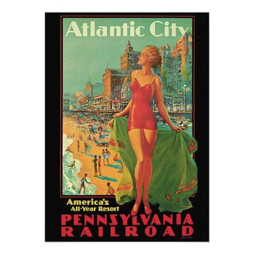 Vintage Travel; Atlantic City Resort, Beach Blonde Custom Announcement