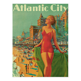 Vintage Travel, Atlantic City Resort Beach Blonde Postcard