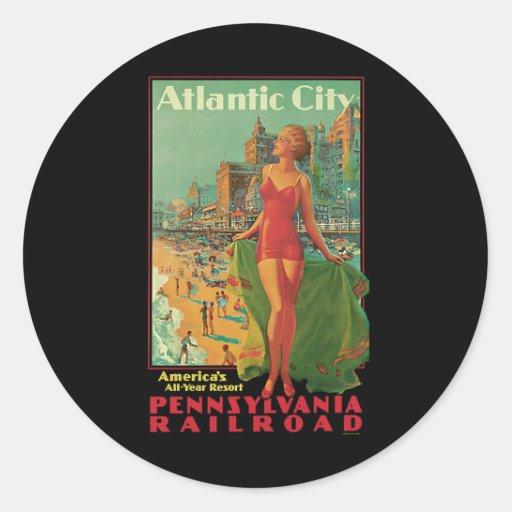 Vintage Travel; Atlantic City Resort, Beach Blonde Sticker
