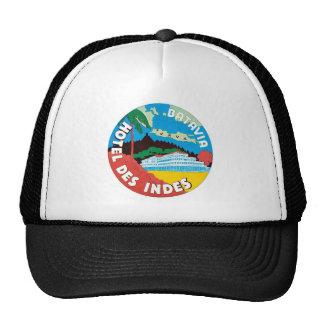 Vintage Travel Batavia Hotel Label Art Hat
