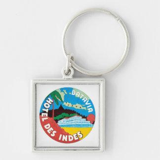 Vintage Travel Batavia Hotel Label Art Keychains