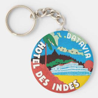 Vintage Travel Batavia Hotel Label Art Basic Round Button Key Ring