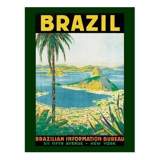 Vintage Travel Beach Coast, Rio de Janeiro Brazil Postcard