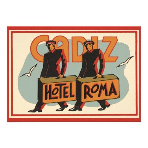 Vintage Travel Bellhops Hotel Roma, Cadiz, Spain Announcements