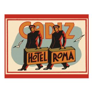 Vintage Travel Bellhops Hotel Roma, Cadiz, Spain Postcard
