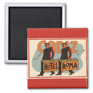 Vintage Travel Bellhops Hotel Roma, Cadiz, Spain Square Magnet