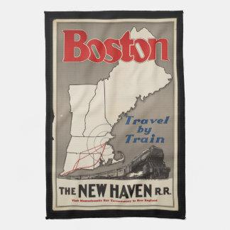 Vintage Travel Boston New Haven Railroad Train Tea Towel