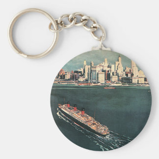 Vintage Travel by Cruise Ship to New York City Basic Round Button Key Ring