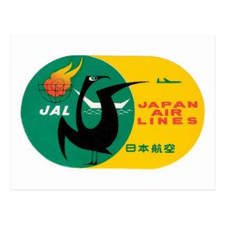 Vintage Travel by Plane Japan Label Art Postcard