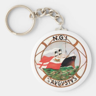 Vintage Travel by Ship Label Art Keychains