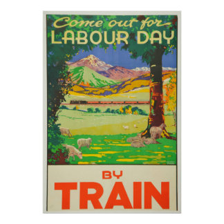 Vintage Travel by Train New Zealand Holiday Poster