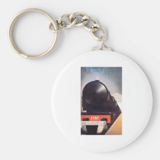 Vintage Travel by Train Railroad Label Art Keychain