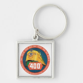 Vintage Travel by Train US State Label Art Keychain