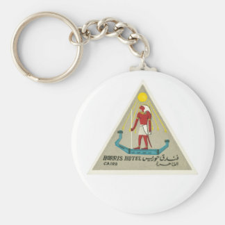 Vintage Travel Cairo Egypt Hotel Label Art Keychain
