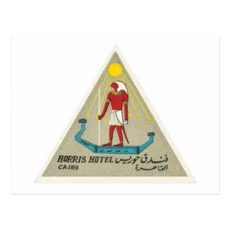 Vintage Travel Cairo Egypt Hotel Label Art Postcard