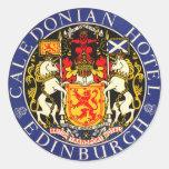Vintage Travel Caledonian Hotel Edinburgh Scotland Round Stickers