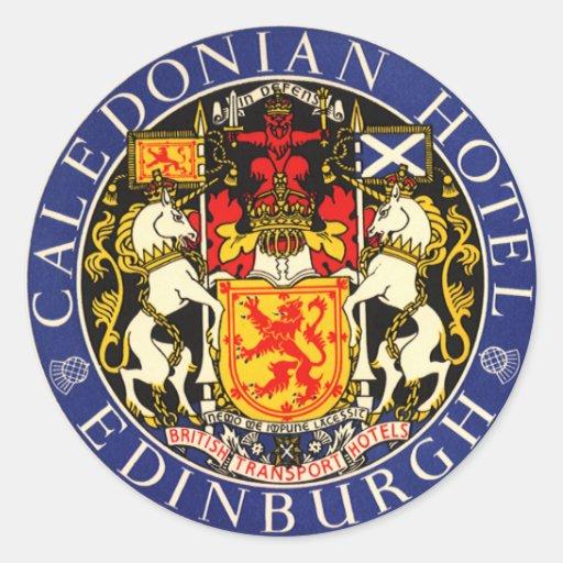 Vintage Travel Caledonian Hotel Edinburgh Scotland Stickers