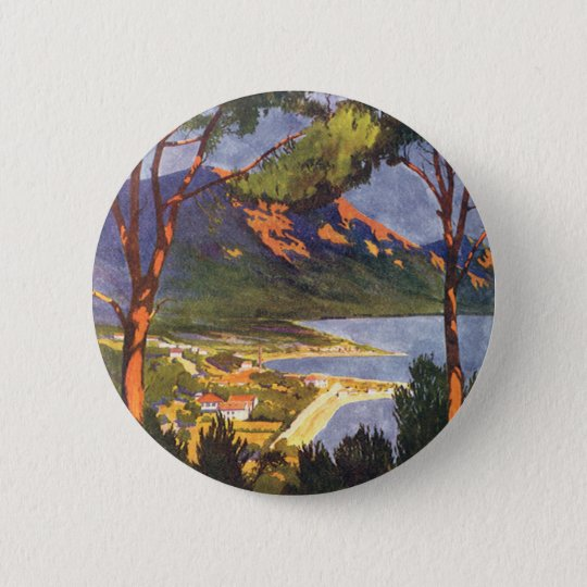 Vintage Travel, Cape Town, a City in South Africa 6 Cm Round Badge
