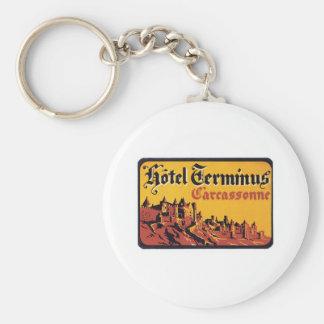 Vintage Travel Carcassonne France Hotel Label Art Keychain