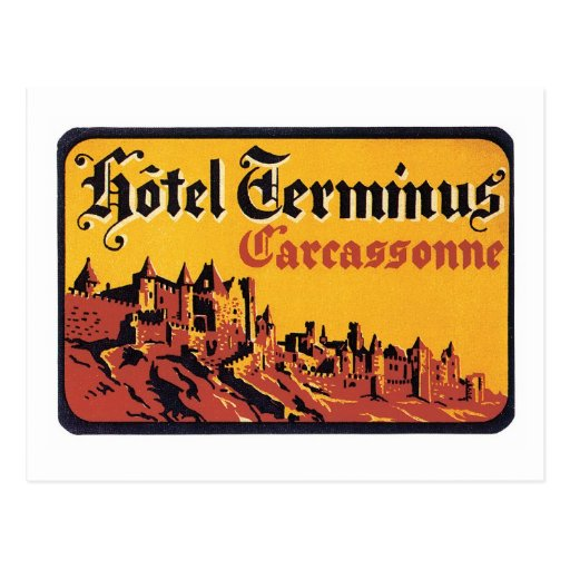 Vintage Travel Carcassonne France Hotel Label Art Post Cards