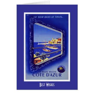 Vintage Travel Card Train France Cote D'azur