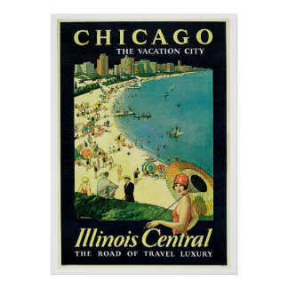Vintage Travel Chicago Illinois America Poster