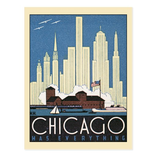 Vintage Travel Chicago Illinois Skyline Skyscraper Post Card