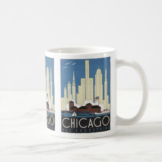 Vintage Travel Chicago Illinois Skyscraper Skyline Coffee Mug