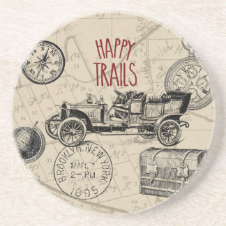 Vintage Travel Collage, Antique Car Road Trip Drink Coasters