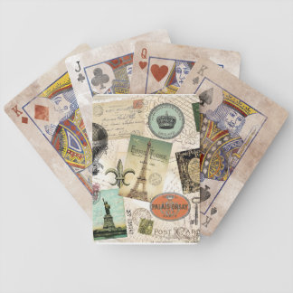 Vintage Travel collage deck of cards