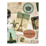 Vintage Travel collage postcard