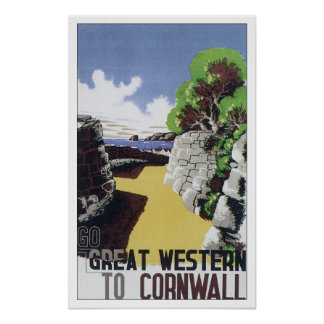 Vintage Travel Cornwall England Poster