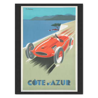 Vintage Travel Cote d'Azur France Red Race Car Tissue Paper