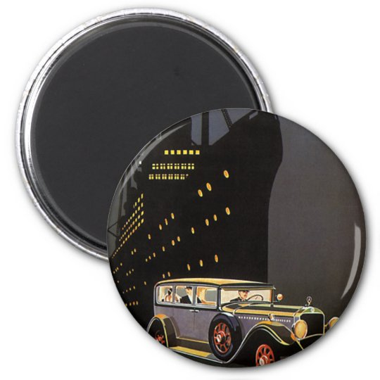 Vintage Travel, Cruise Ship and Antique Car 6 Cm Round Magnet