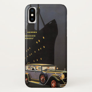 Vintage Travel, Cruise Ship and Antique Car iPhone X Case