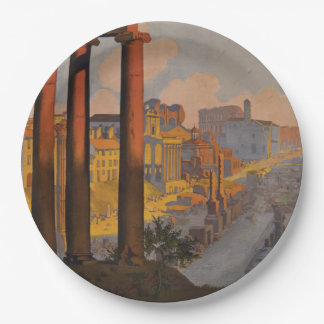Vintage Travel Design with Roman Forum in View Paper Plate