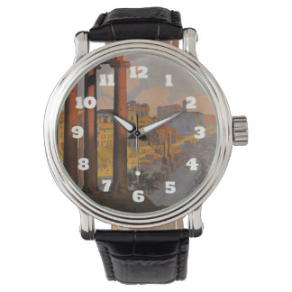 Vintage Travel Design with Roman Forum in View Wristwatches