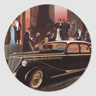 Vintage Travel, Elegant Stretch Limo Limousine Car Round Sticker
