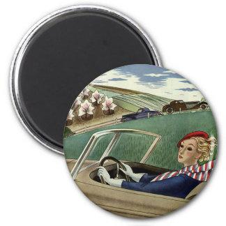 Vintage Travel, Elegant Woman in Convertible Car 6 Cm Round Magnet
