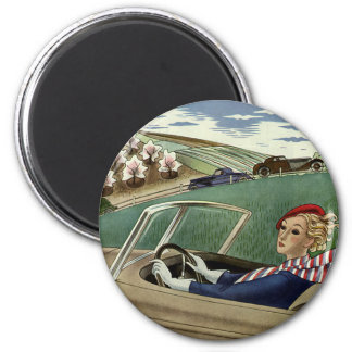 Vintage Travel, Elegant Woman in Convertible Car Magnet