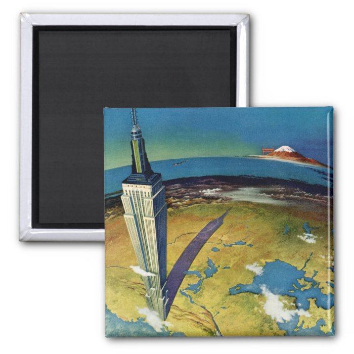 Vintage Travel Empire State Building New York City Square Magnet