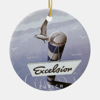 Vintage Travel Excelsior Hotel Zurich Switzerland Double-Sided Ceramic Round Christmas Ornament