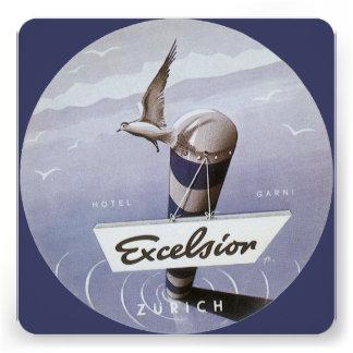 Vintage Travel Excelsior Hotel Zurich Switzerland Personalized Announcements