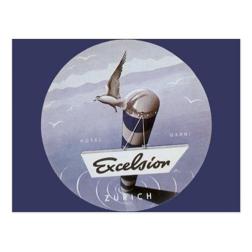 Vintage Travel Excelsior Hotel Zurich Switzerland Post Cards