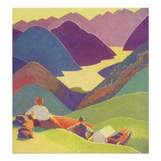 Vintage Travel, Family Picnic, Mountain Vacation Poster