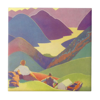 Vintage Travel, Family Picnic, Mountain Vacation Tile