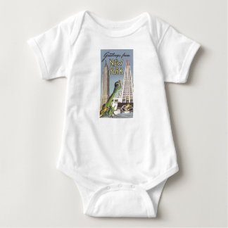 Vintage Travel, Famous New York City Landmarks Baby Bodysuit