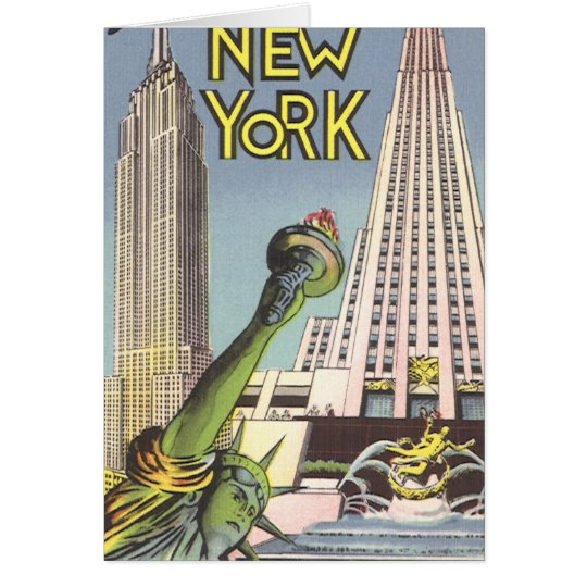 Vintage Travel, Famous New York City Landmarks Card